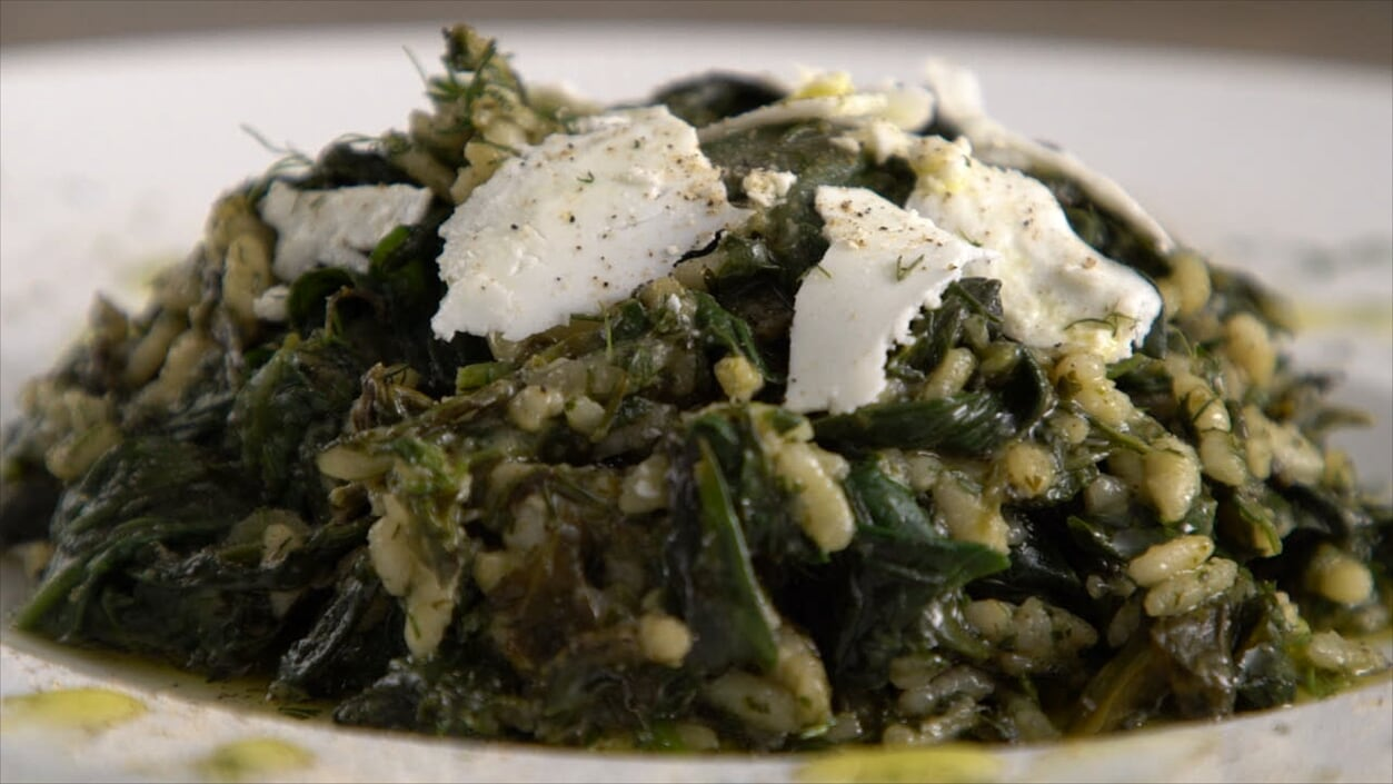 Wild Greens Risotto with Vrisi 36 Delicate Extra Virgin Greek Olive Oil